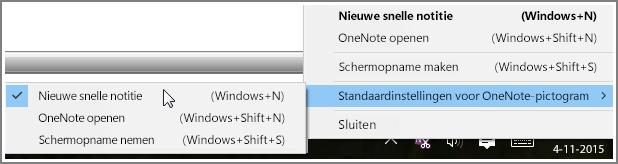 Schermafbeelding van het systeemvak met OneNote-opties.