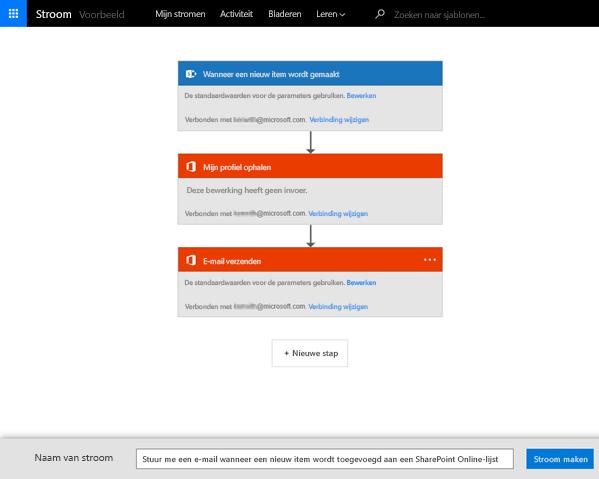 Volg de aanwijzingen op de MS Flow-site om de stroom te koppelen aan uw SharePoint-lijst.