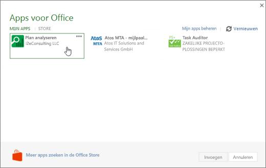 Schermafbeelding van de pagina Apps fpr Office in de sectie Mijn Apps waar u kunt openen en beheren van uw Project-apps.