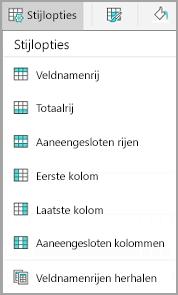 Opties voor tabelstijlen in Android