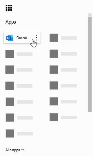 Het startprogramma voor Office 365-apps, met de Outlook-app gemarkeerd