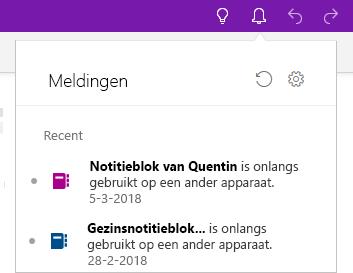 Deelvenster Meldingen met twee notitieblokken die op een ander apparaat geopend zijn geweest.