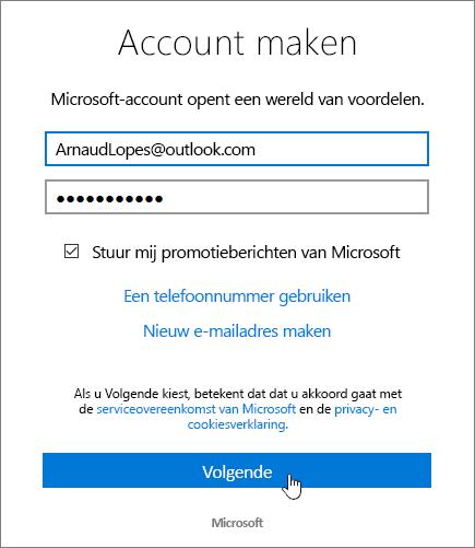 Schermafbeelding van het dialoogvenster Microsoft-account maken.