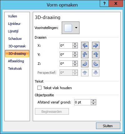 De opties voor 3D-draaiing in het dialoogvenster Vorm opmaken