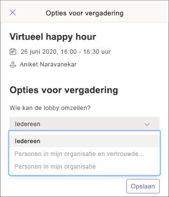 Vergaderingsopties - mobiele schermafbeelding