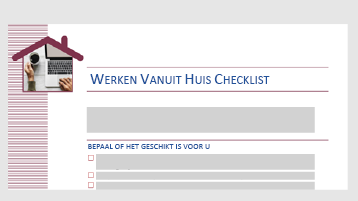 Een controlelijst sjabloon waarmee u kunt bepalen of het werk voor u geschikt is voor thuisgebruik