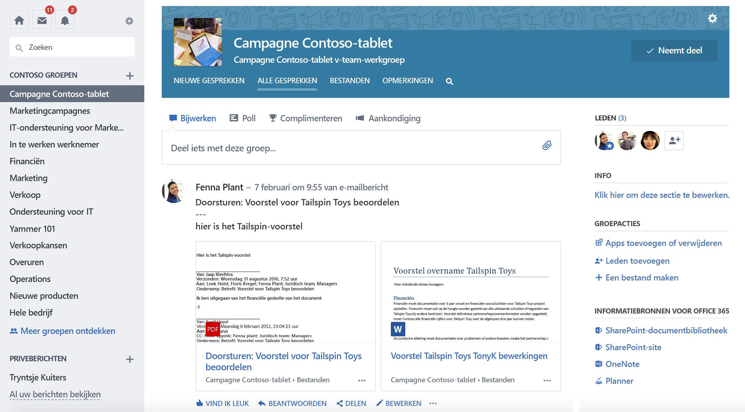 Schermafbeelding van Office 365 verbonden Yammer-groepsgesprekken