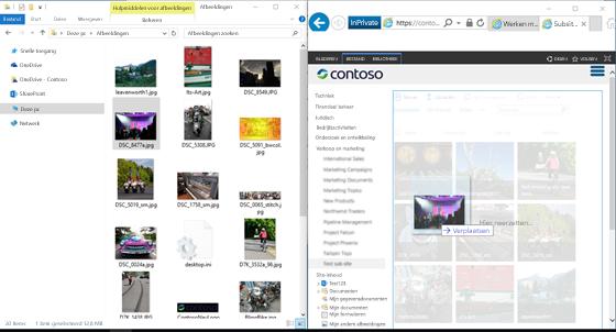 Schermafbeelding van SharePoint als in Windows Verkenner naast elkaar met behulp van de Windows-toets en de pijltoetsen.