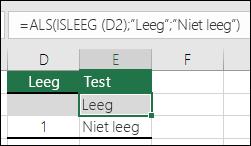 """De formule in cel E2 is =ALS(D2=1;""""Ja"""";ALS(D2=2;""""Nee"""";""""Misschien""""))"""