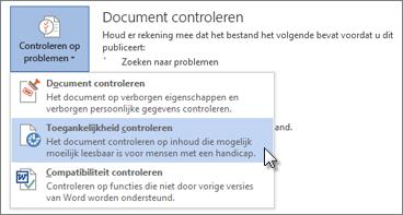 De opdracht Toegankelijkheid controleren in Word 2013