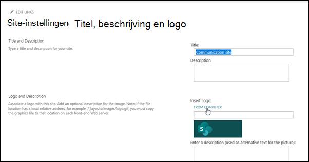 Het logo van een team of communicatie site wijzigen