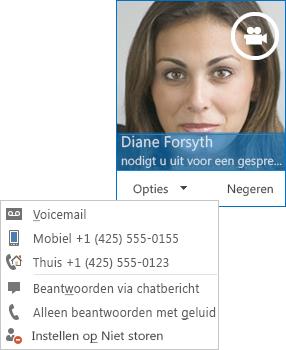 Schermafbeelding van een melding voor een videogesprek met de foto van de contactpersoon in de bovenhoek