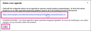 Google-agenda - URL van agenda