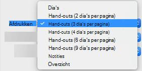 Selecteer een optie voor hand-out in het vak afdrukken