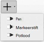 Office 365-abonnees kunnen tekenen in inkt met drie verschillende patronen: een potlood, een pen of markeerstift