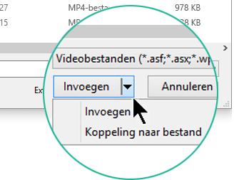 Kies in het dialoogvenster Video invoegen tussen Invoegen (wat 'insluiten' betekent) of Koppeling naar bestand.