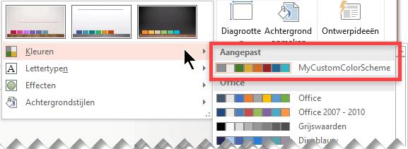 Nadat u een aangepast kleurenschema hebt gedefinieerd, is het schema beschikbaar via de vervolgkeuzelijst Kleuren