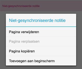 Het menu Notitie in OneNote voor Android
