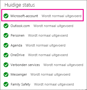 Status van de Microsoft-accountservice