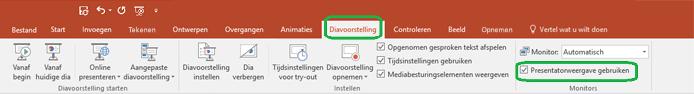 De Weergave voor presentator wordt ingesteld met een selectievakje op het tabblad Diavoorstelling op het lint in PowerPoint.