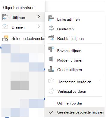Het menu Uitlijnen in PowerPoint voor het web.