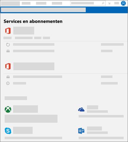 Toont de Services en abonnementenpagina op account.microsoft.com