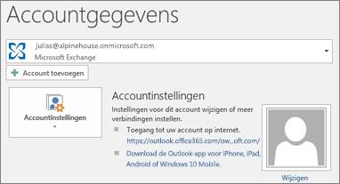 Schermafbeelding van de pagina Accountgegevens van Outlook in de backstage-weergave.