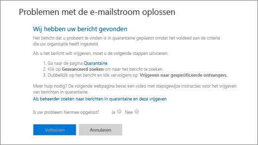 Schermafbeelding van een voorbeeld van de resultaten van de probleemoplosser voor de e-mailstroom.