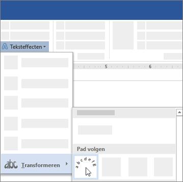 Optie voor het transformeren van tekst om een pad te volgen