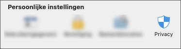 Het pictogram Privacy onder toepassingsvoorkeuren.