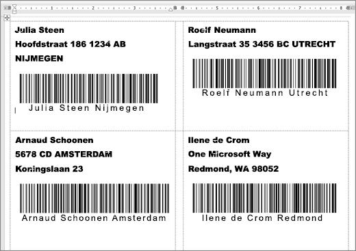 Afbeelding van bepaalde etiketten met adres en streepjescodes