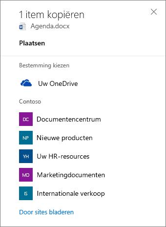 Schermafbeelding van het kiezen van een bestemming bij het kopiëren van bestanden vanuit OneDrive voor Bedrijven naar een SharePoint-site.
