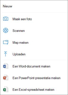 Uploaden naar OneDrive