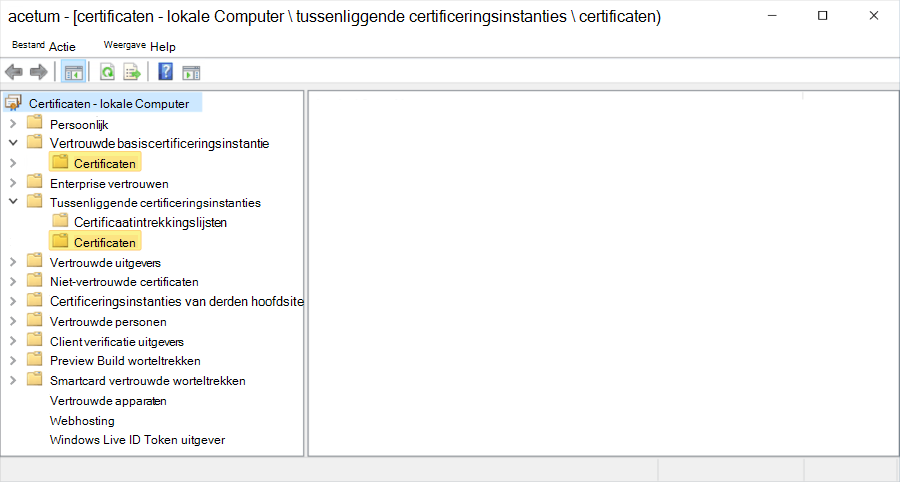 Certificeringshiërarchie weergegeven op de lokale Computer