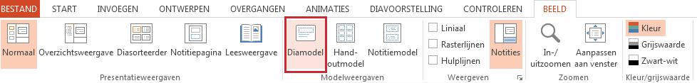De optie Diamodel staat op het tabblad Weergave.