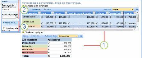 Webonderdeel Filteracties