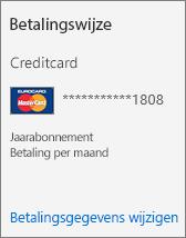 De sectie Betalingswijze van een abonnementskaart voor een abonnement dat wordt betaald per creditcard.