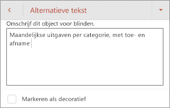 Alternatieve tekst voor een tabel in PowerPoint voor Android.
