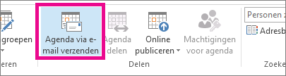 klik op agenda via e-mail verzenden op het tabblad start