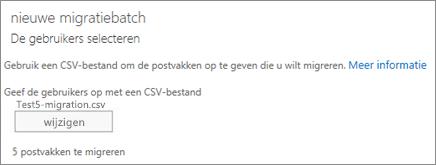 Nieuwe migratiebatch met CSV-bestand