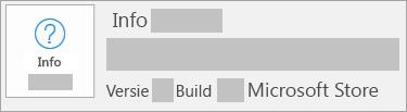 Schermafbeelding van de versie en build in de Microsoft Store