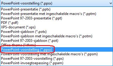 De lijst met bestandstypen in PowerPoint bevat PowerPoint-voorstelling (.ppsx)