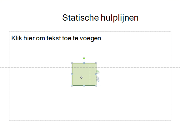 Statische horizontale en verticale richtlijnen ziet u waar het midden van de dia is