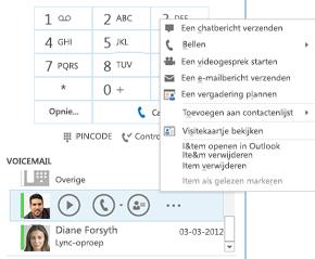 Schermafbeelding van voicemail controleren in Lync