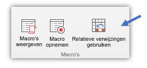 Schermafbeelding met de knop 'Relatieve verwijzingen gebruiken'