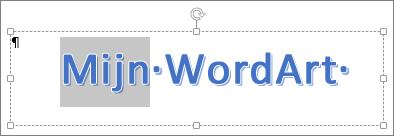 Gedeeltelijk geselecteerde WordArt-tekst