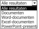 Opties voor resultaattypen, waaronder Alle resultaten, Documenten, Word-documenten, Excel-documenten en PowerPoint-presentaties