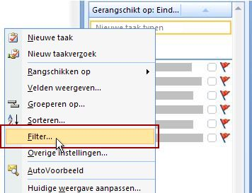 De opdracht Filter voor de takenlijst