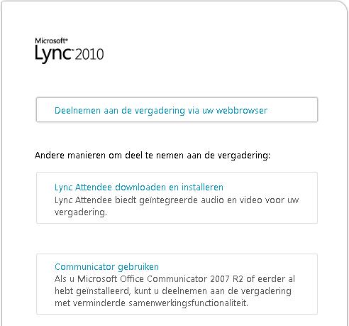 Afbeelding van Lync-browservenster
