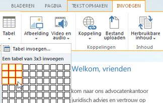 Voeg een tabel in de openbare website van SharePoint Online in